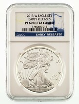 2013-W $1 Silver American Eagle Proof Graded by NGC as PF69 Ultra Cameo ER - $49.50