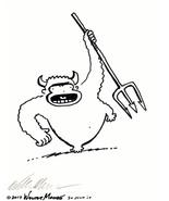 Devil Ape Shakes a Pitchfork. Original Signed Cartoon by Walter Moore - $9.44