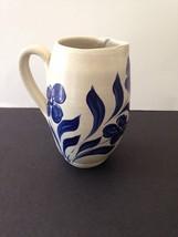Vintage Williamsburg Pottery Small Pitcher Blue Floral Leaf 1993 Salt Glaze - $21.16