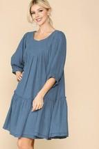 Women's Blue Colored 3/4 Sleeve Knee Length Swing Dress - $45.00