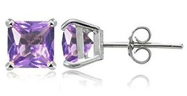 Sterling Silver Simulated Amethyst 6mm Princess-cut Stud Earrings - $45.44