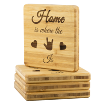 "Sign Language ""ILY Home"" - Etched Bamboo Coaster Set 