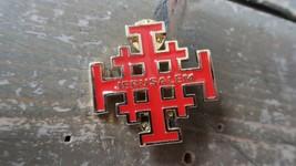 Vintage Red Enamel and Gold Jerusalem Crusader Cross 4cm - $19.79