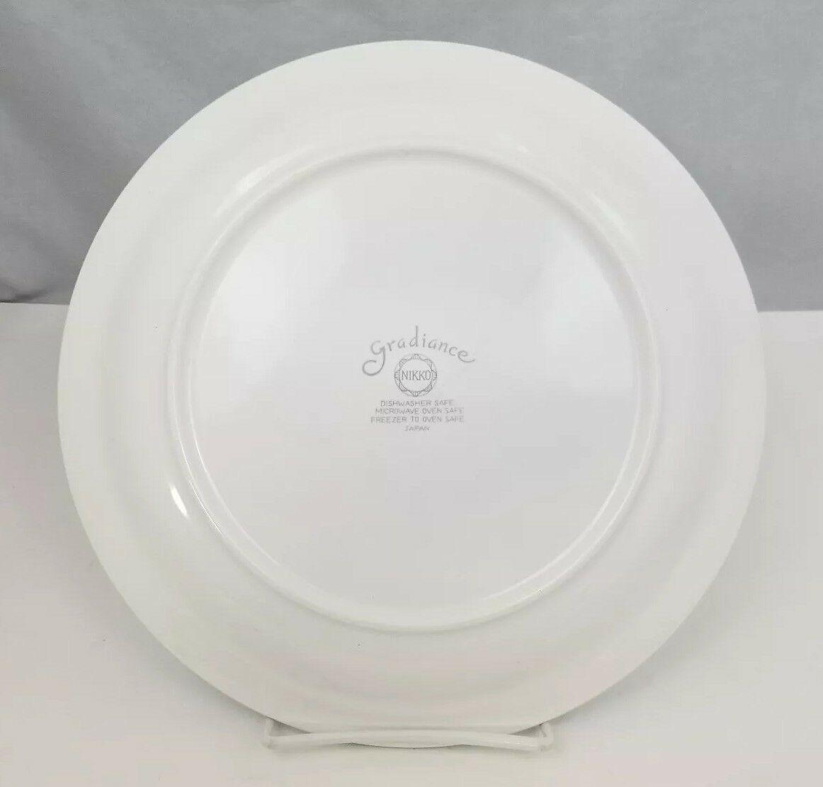 """Nikko Gradiance Dinner Plates Set of 4 Azure Leafette 10.5"""" Dish Microwave Safe"""