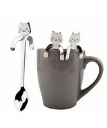 Mounchain Cute Cartoon Cat Stainless Steel Handle Hanging Tea Coffee Spoon - $2.66