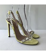 W-1702129 New Gucci Yellow Suede Crystal High Heels Marked Size 39.5 US 9.5 - $263.83