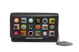 New Fendi Wallet On Chain Studded Grey Leather Messenger Clutch Bag - $877.10