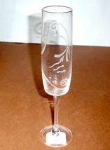 Lenox Spyro Crystal Flute Glass Etched Swirl & Dot New - $19.90