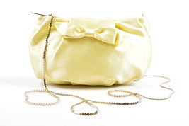 Valentino Pastel Yellow Gold Tone Satin Bow Detail Small Shoulder Bag - ₨10,956.90 INR