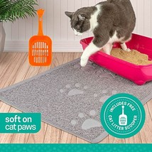 Ruff 'n Ruffus Cat Litter Box Mat with Free Kitty Litter Scooper | Heavy... - $17.48
