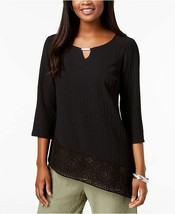 New JM Collection Asymmetrical Crinkle Crochet-Hem Top Black Blouse Shir... - $28.06