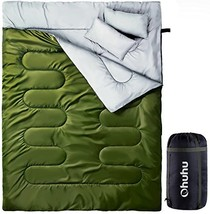 Ohuhu Double Sleeping Bag with 2 Pillows and A Carrying Bag, Waterproof ... - $67.08