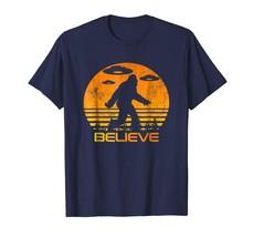 Dad Shirts - Retro Bigfoot UFO Shirt Abduction Sci-Fi Vintage Believe Men - $19.95+