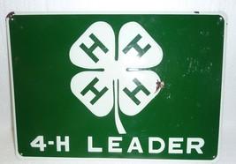 Vintage 4-H Leader Rural Country Farm Embossed Metal Sign - $29.02