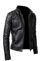 Strap Pocket Slim Fit Synthetic Leather Black Jacket image 3