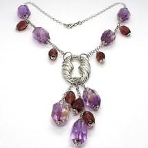 Collar Plata 925 , Fluorita Ovalados Facetada Violeta, Colgante Racimo image 1