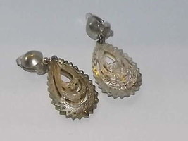 Vintage Silver Filigree?? Type Teardrop Clip On Earrings - $12.16
