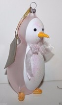 Pier 1 Imports NWT Baby's 1st Christmas 2014 Pink Opaque Glass Penguin +... - $23.88