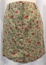 Ann Taylor Floral Skirt 6 Tan Multi-Colored Straight/Pencil 100% Cotton Career - $15.70