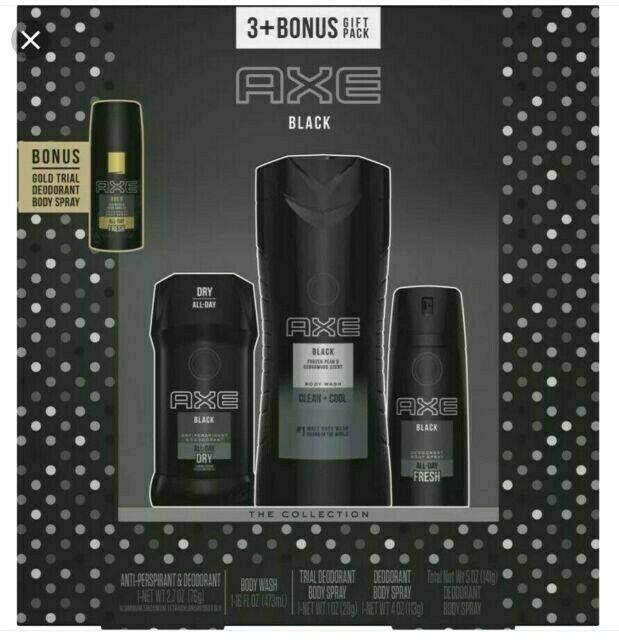 AXE Black 3 Piece + Bonus Gold Deodorant Spray Body Wash Gift Pack Collection
