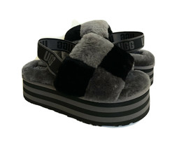 UGG FLUFF YEAH DISCO CHECKER SLIDE BLACK / DARK GREY SANDAL US 9 / EU 40... - $139.32