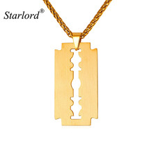 Fashion Updated Mens Stainless Steel Razor Blade Necklace Pendants Brush... - $13.98