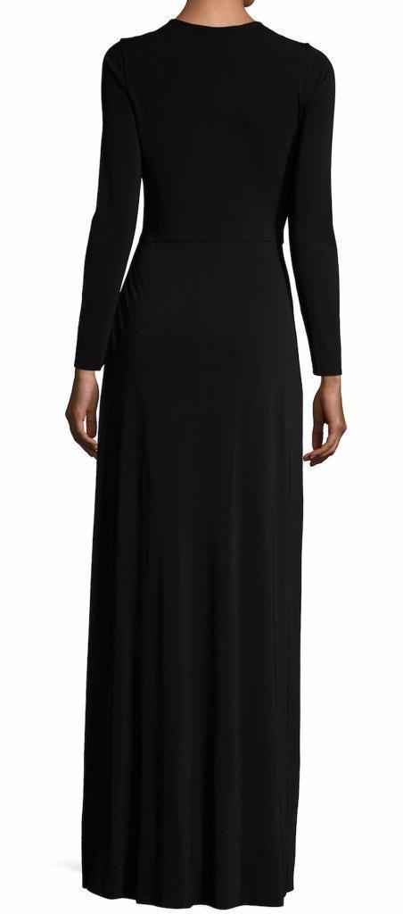New with Tag - $395 Alice + Olivia Salina Black V-Neck Tie Waist Maxi Dress SZ S