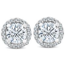 3/4 Ct Halo Diamond Studs 10K White Gold Finish 925 Sterling Silver - $41.99