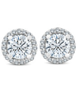 3/4 Ct Halo Diamond Studs 10K White Gold Finish 925 Sterling Silver - £31.50 GBP