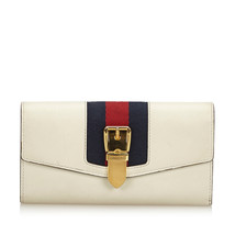 Pre-Loved Gucci White Others Leather Sylvie Continental Long Wallet Italy - $507.76