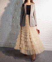 Deep Champagne Layered Tulle Skirt Outfit Long Tiered Tulle Skirt Plus Size  image 1