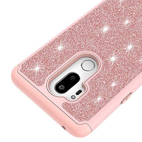 LG G7 ThinQ Case Dual Layer Glitter Screen Protector Shockproof Cover Pink