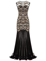 FAIRY COUPLE 1920s Floor-Length V-Back Sequined Embellished Prom Evening... - $53.71