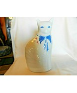 White Ceramic Cat Figurine by Trish 1986 Hand Painted With Flowers and Bow - $44.55