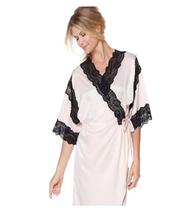 Vicky Tiel PARIS for Highgate Manor Priscilla Lace-Trimmed Satin Robe, S... - $39.59