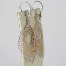 GOLD EARRINGS PINK WHITE 750 18K HANGING, LEAVES YOU WORK, HONEYCOMB, 5.3 CM image 2
