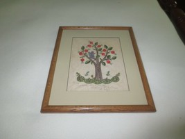 "Wood Framed JACOBEAN FLORAL TREE w/ SQUIRREL Crewel Embroidery -12.5"" x ... - $11.88"