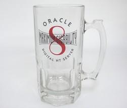Oracle Maximum Gigability Huge Clear Glass Beer Mug Computer Tech Digita... - $24.74