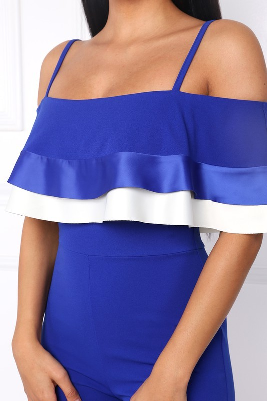 Image 1 of Flirty Royal Blue Party Jumpsuit, Off Shoulder, Ruffled Bodice, S, M or L