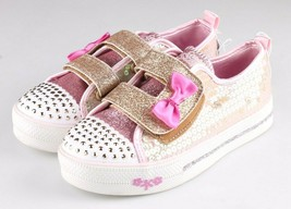 Bambine' S Sport Da Skechers Cristallo Oro Stars Madelyne Si Illumina Sneakers