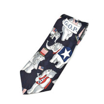 Fratello G.O.P. Republican Elephants Flags Silk Tie Necktie - $11.87