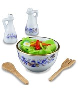 DOLLHOUSE Fresh Tossed Salad Set 1.848/5 Reutter Porcelain Blue Onion Mi... - $22.80