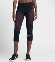 Nike Zonal Entraînement Force Capri Legging Taille M Noir Rose Pantalon Court - $35.95