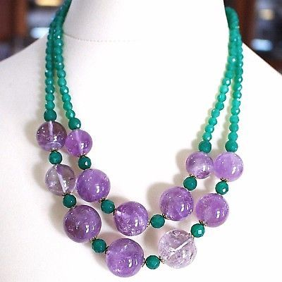 925 Silver Necklace, Double, spheres of Amethyst Large, Green Chalcedony