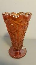 Imperial IG NUCUT Hobstar Whirligig Marigold Carnival Cone Vase - $16.00