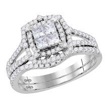 14kt White Gold Princess Diamond Halo Bridal Wedding Engagement Ring Band Set - £980.24 GBP