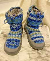 Lands End Kids Snow Boots Size 1 Blue Gray Ski Flurry Winter Rain Drawst... - $20.83