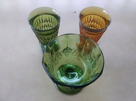 Vintage Green & Orange Stemware Goblets, 2 Small & 1 Big. VINTAGE - $28.99