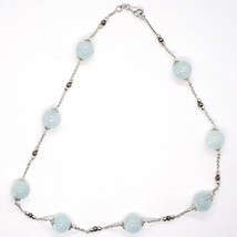 SILVER 925 NECKLACE, AQUAMARINE SPHERES, PIRITE FACETED, CHAIN ROLO' image 2