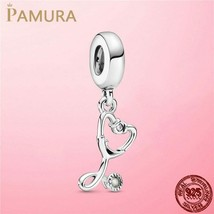 S925 Sterling Silver Stethoscope Heart Dangle Charm Beads Fiit Pandora B... - $9.48
